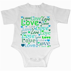 Love pattern - green and blue Infant Creepers