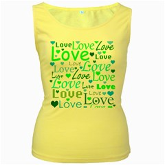 Love pattern - green and blue Women s Yellow Tank Top