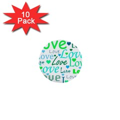 Love pattern - green and blue 1  Mini Buttons (10 pack)