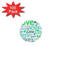 Love pattern - green and blue 1  Mini Buttons (100 pack)
