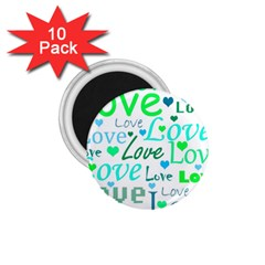 Love pattern - green and blue 1.75  Magnets (10 pack)