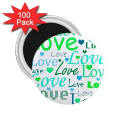 Love pattern - green and blue 2.25  Magnets (100 pack)