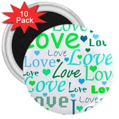 Love pattern - green and blue 3  Magnets (10 pack)
