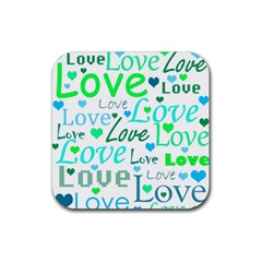 Love pattern - green and blue Rubber Square Coaster (4 pack)