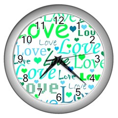 Love pattern - green and blue Wall Clocks (Silver)