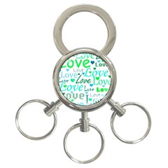 Love pattern - green and blue 3-Ring Key Chains