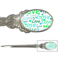 Love pattern - green and blue Letter Openers