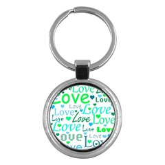 Love pattern - green and blue Key Chains (Round)