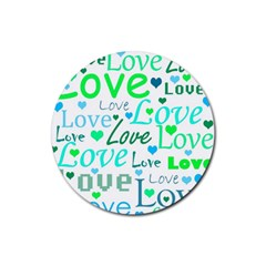 Love pattern - green and blue Rubber Coaster (Round)