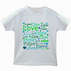Love pattern - green and blue Kids White T-Shirts