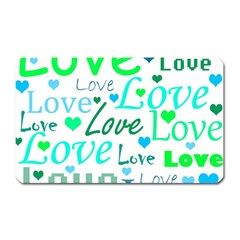 Love pattern - green and blue Magnet (Rectangular)