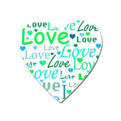 Love pattern - green and blue Heart Magnet