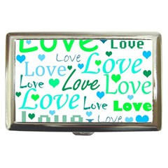 Love pattern - green and blue Cigarette Money Cases