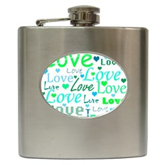 Love pattern - green and blue Hip Flask (6 oz)