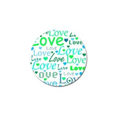 Love pattern - green and blue Golf Ball Marker (4 pack)