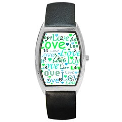 Love pattern - green and blue Barrel Style Metal Watch