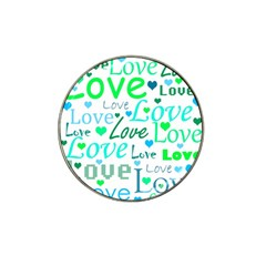 Love pattern - green and blue Hat Clip Ball Marker (4 pack)