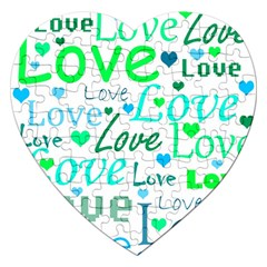 Love pattern - green and blue Jigsaw Puzzle (Heart)