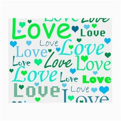Love pattern - green and blue Small Glasses Cloth