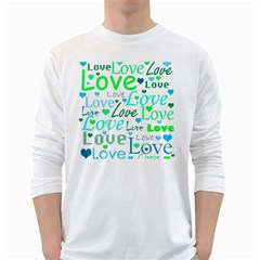 Love pattern - green and blue White Long Sleeve T-Shirts