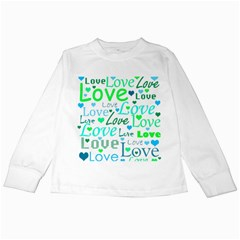 Love pattern - green and blue Kids Long Sleeve T-Shirts