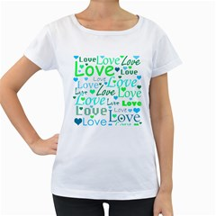 Love pattern - green and blue Women s Loose-Fit T-Shirt (White)