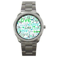 Love pattern - green and blue Sport Metal Watch
