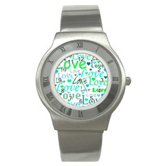 Love pattern - green and blue Stainless Steel Watch