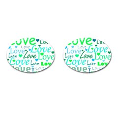 Love pattern - green and blue Cufflinks (Oval)