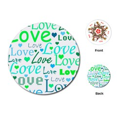 Love pattern - green and blue Playing Cards (Round)