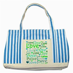 Love pattern - green and blue Striped Blue Tote Bag
