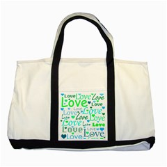 Love pattern - green and blue Two Tone Tote Bag