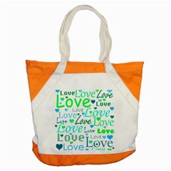 Love pattern - green and blue Accent Tote Bag