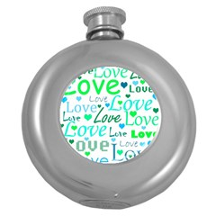 Love pattern - green and blue Round Hip Flask (5 oz)