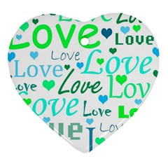 Love pattern - green and blue Heart Ornament (2 Sides)