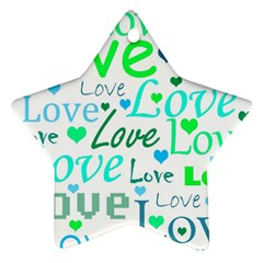 Love pattern - green and blue Star Ornament (Two Sides)