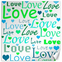 Love pattern - green and blue Canvas 16  x 16