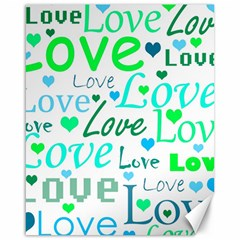 Love pattern - green and blue Canvas 16  x 20