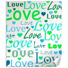 Love pattern - green and blue Canvas 20  x 24