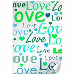 Love Pattern   Green And Blue Canvas 24  X 36