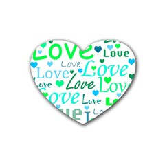 Love pattern - green and blue Rubber Coaster (Heart)