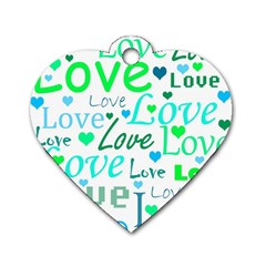 Love pattern - green and blue Dog Tag Heart (One Side)