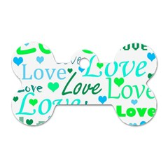 Love pattern - green and blue Dog Tag Bone (One Side)