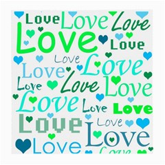 Love pattern - green and blue Medium Glasses Cloth (2-Side)