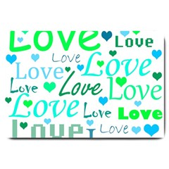 Love pattern - green and blue Large Doormat