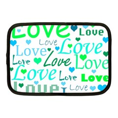 Love pattern - green and blue Netbook Case (Medium)