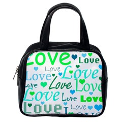 Love pattern - green and blue Classic Handbags (One Side)