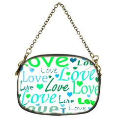 Love pattern - green and blue Chain Purses (One Side)