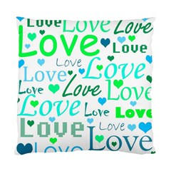 Love pattern - green and blue Standard Cushion Case (Two Sides)