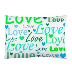 Love pattern - green and blue Pillow Case
